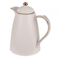 Garrafa Térmica Porcelana  branca  com detalhes dourado, 1 litro.