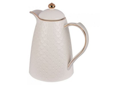 Garrafa Térmica Porcelana  branca  com detalhes dourado