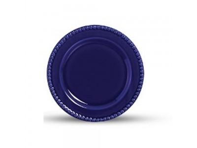 Conjunto 6 pratos rasos Bolinha Azul Royal